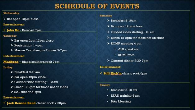 Schedule of events2